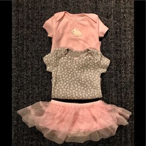 Matching Sets - Two carters onesies and starting out tutu size 3M.